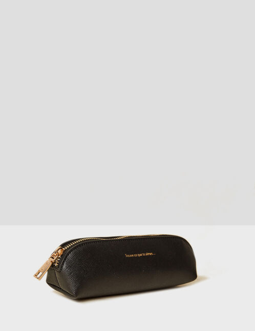 Small black makeup bag with text design detail