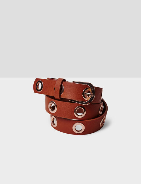 Camel belt with eyelet detail