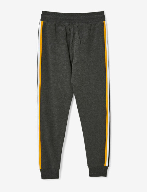 Charcoal grey, black, ochre and white joggers with side stripe detail