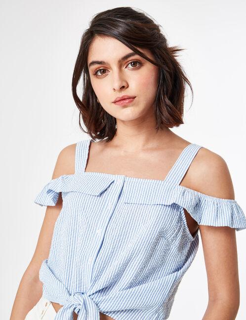 blouse rayée à nouer bleu clair et écrue