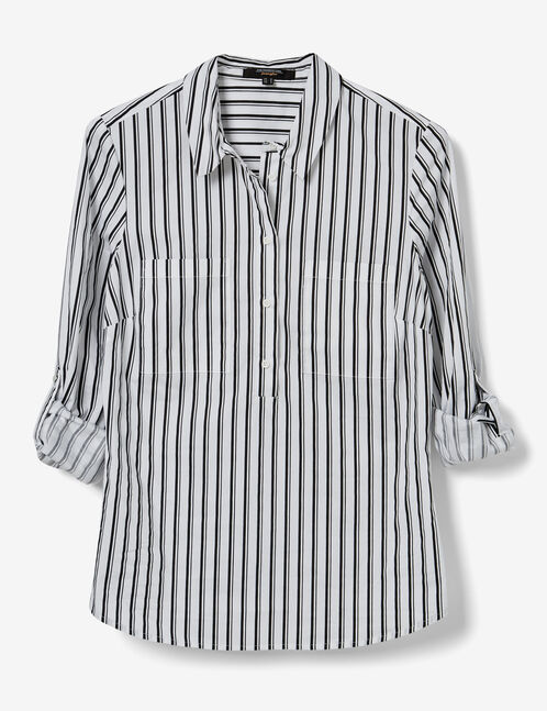 White and black striped buttoned blouse