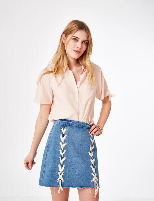 jupe en jean avec laçages medium blue