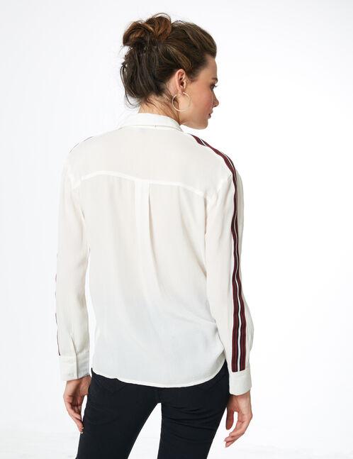 chemise avec bandes rayées écrue