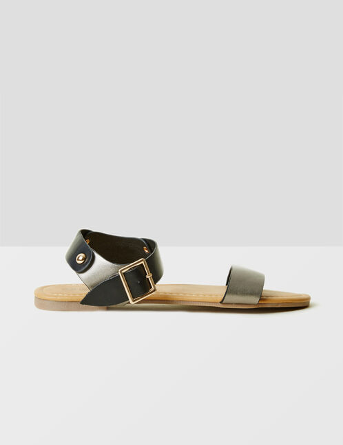 Black and bronze two-tone flat sandals.