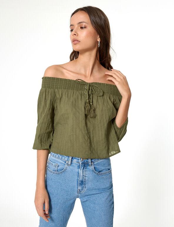 Khaki off-the-shoulder blouse