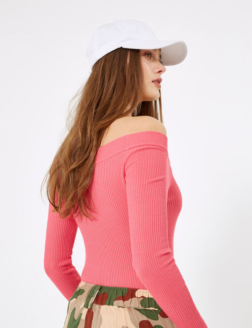 Neon pink ribbed boat neck jumper