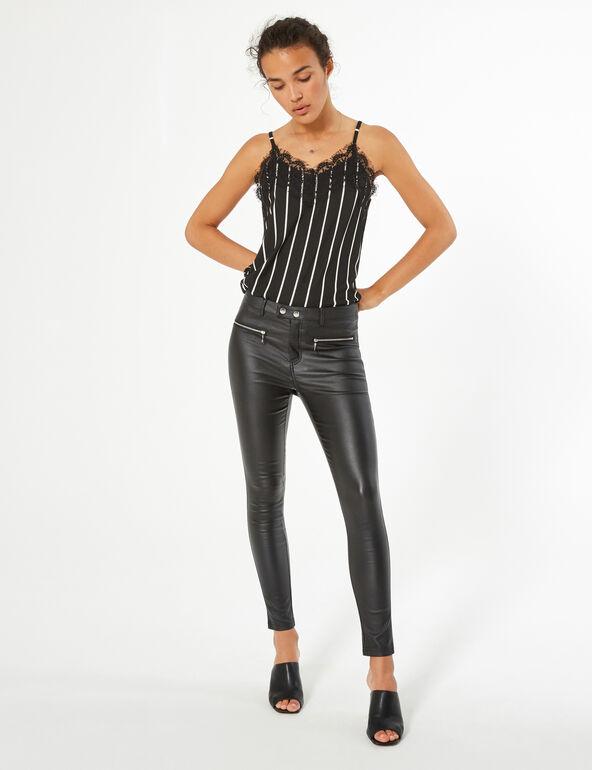 Coated skinny trousers