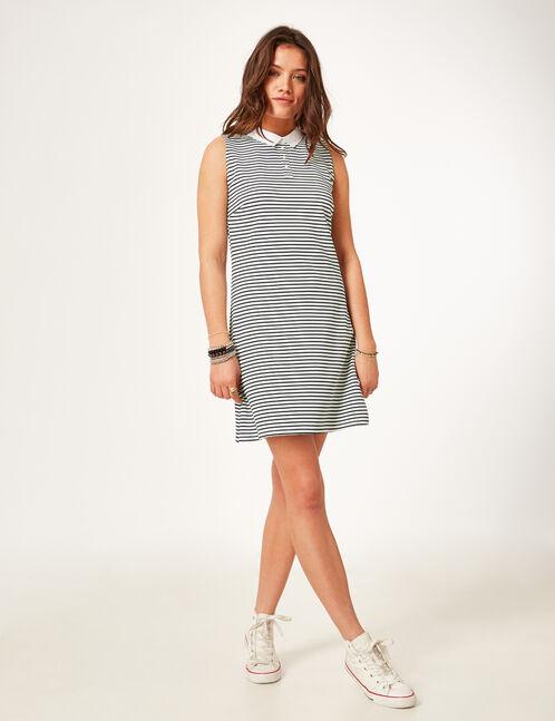 robe avec col blanc rayé noire et blanche