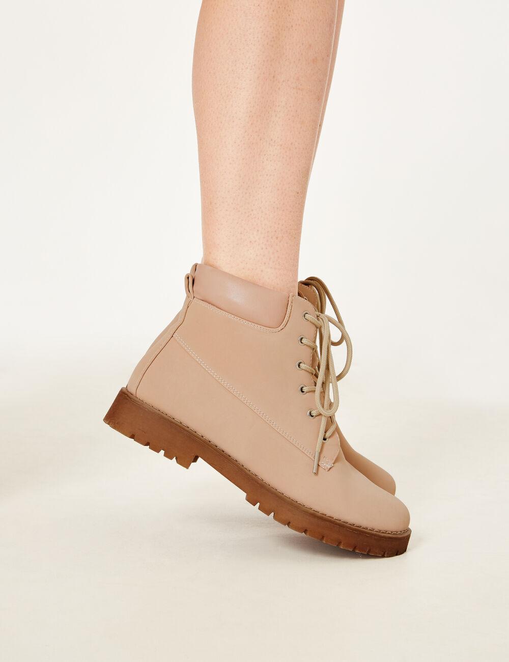 light pink combat boots