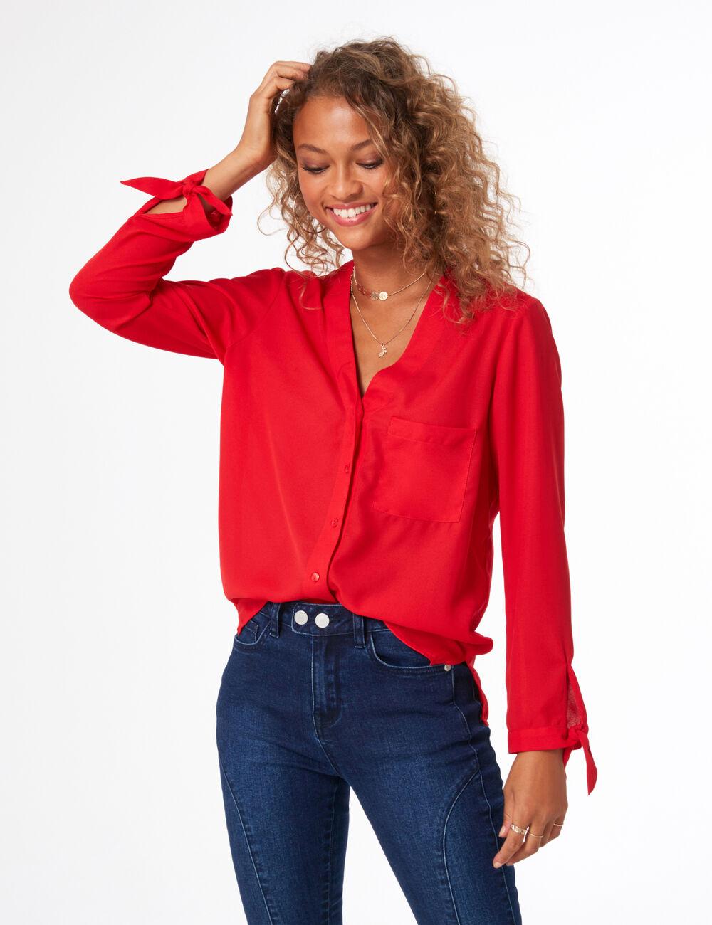 Chemise col v rouge femme • Jennyfer 91092621e570
