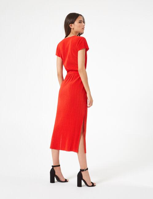 robe longue plissée rouge