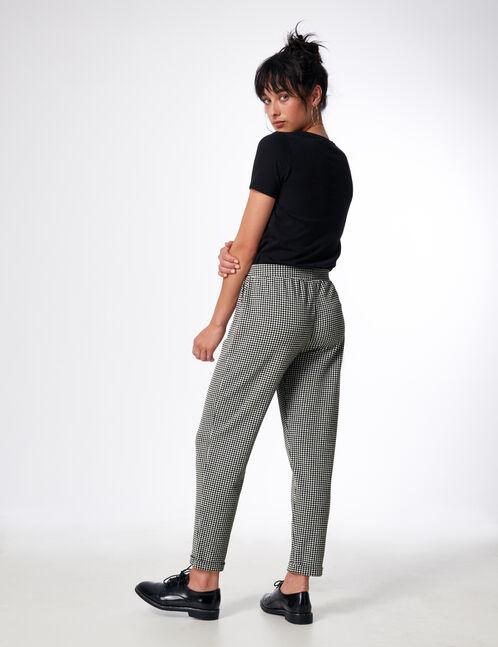 pantalon pied-de-poule noir et blanc
