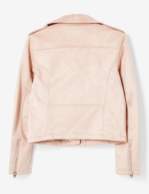 veste biker en suédine rose clair