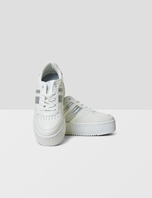 White platform sole trainers