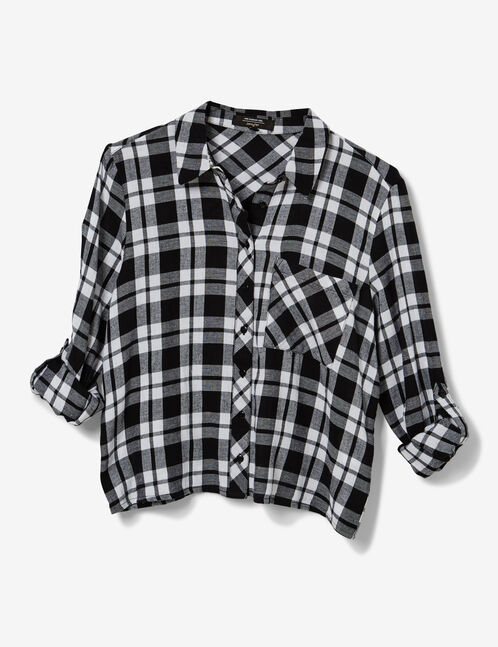 White and black cropped checked shirt