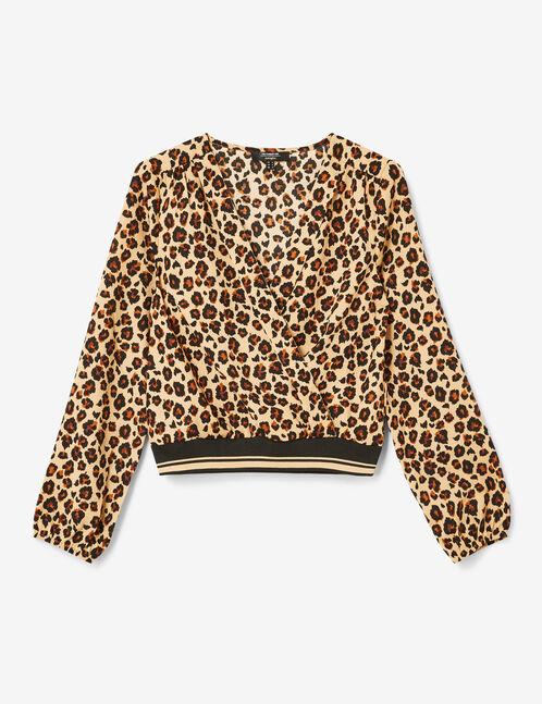 blouse cache-coeur léopard beige