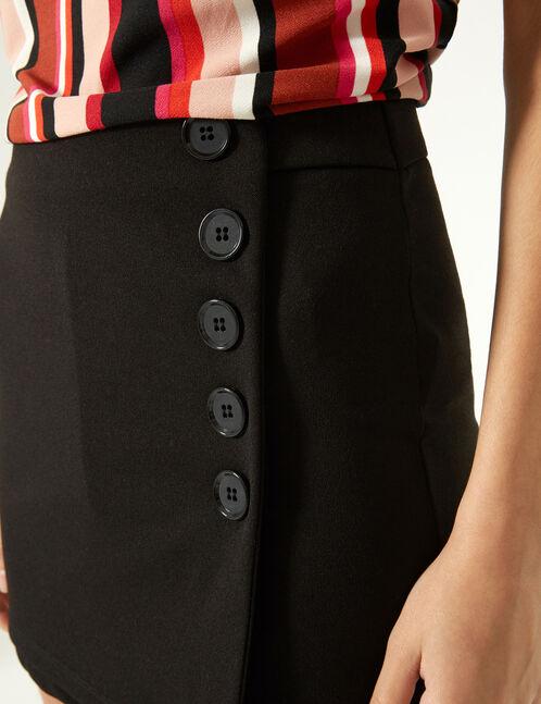 jupe short à boutons noire