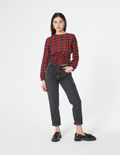 plaid blouse with lacing