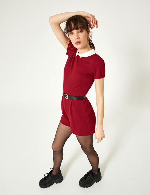 Burgundy playsuit with white collar detail