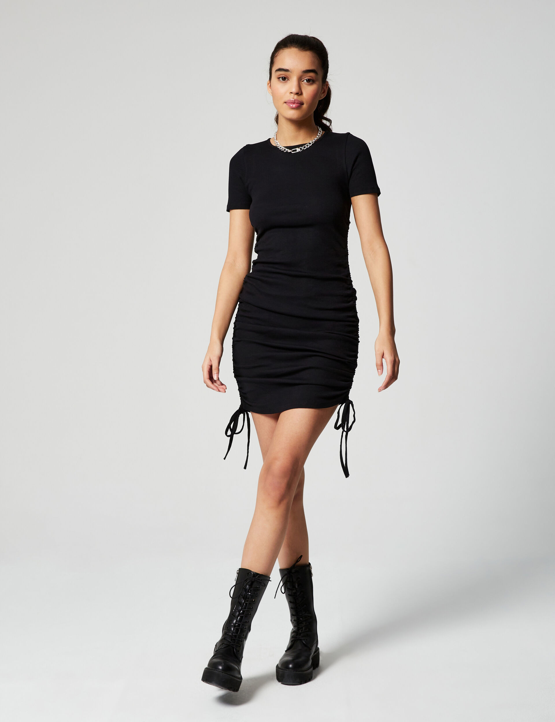 Ribbed dress with strap detail