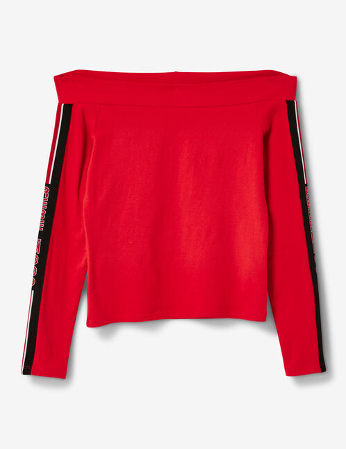tee-shirt épaules dénudées rouge