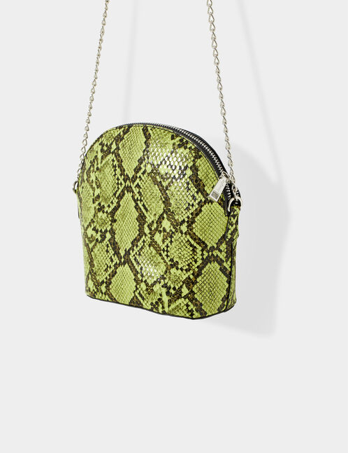 Green and black python skin crossbody bag