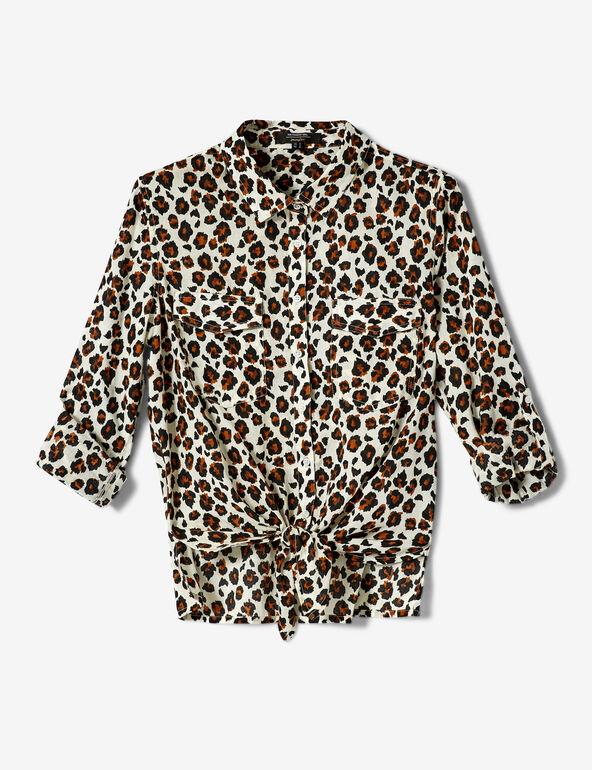 Beige, brown and black leopard print tie-fastening shirt