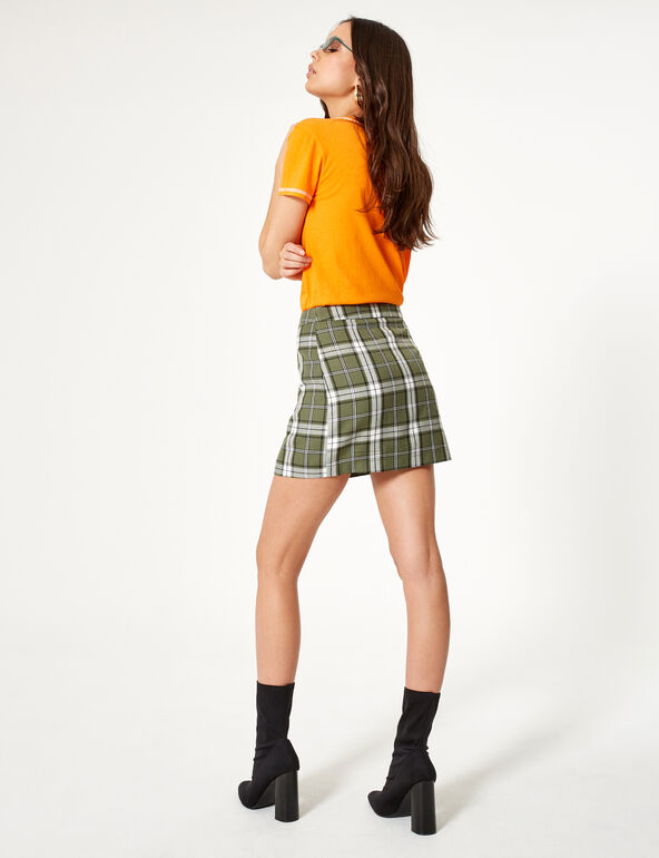 Green, black and white checked zipped skirt