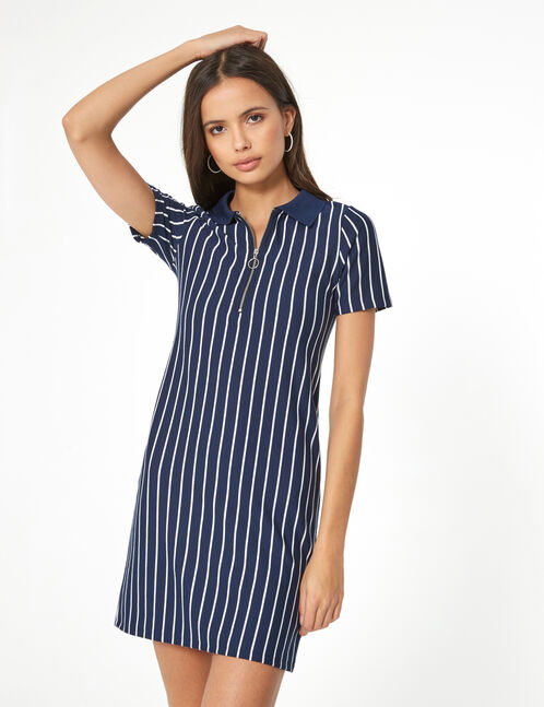 Navy blue and white striped polo shirt dress