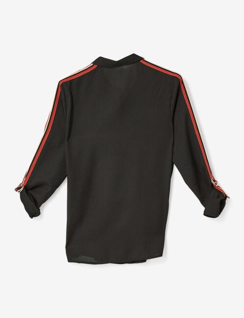 chemise avec bandes rayées noire