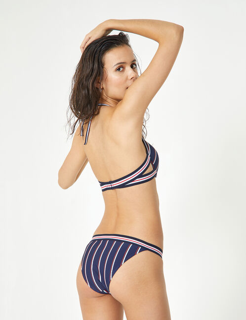 Navy blue, white and red bikini set with stripe detail