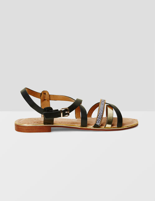 Black and gold strappy sandals