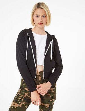 Product Sweat zippé femme, noir, patch sur la manche, capuche avec liens de resserrage  à message, 2 poches, manches longues.  Photos retouchéesMarque Jennyfer Catégorie joggness