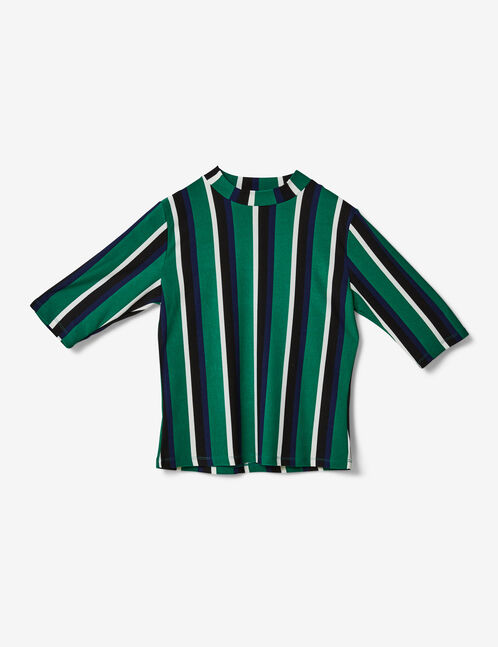 Black, green, navy blue and white striped T-shirt
