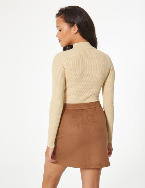 faux-suede zipped skirt