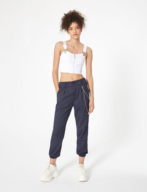 pantalon cargo avec chaîne bleu marine
