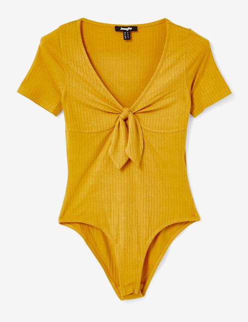 Ochre rib-knit bodysuit