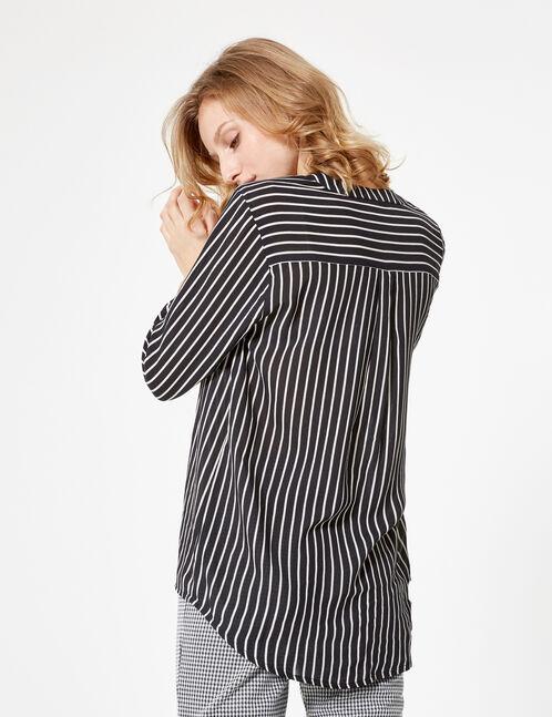 Black and white striped V-neck shirt
