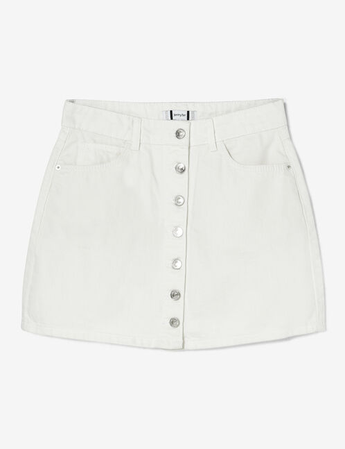 White button-up denim skirt