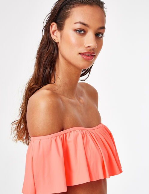 Neon coral bikini top with frill detail
