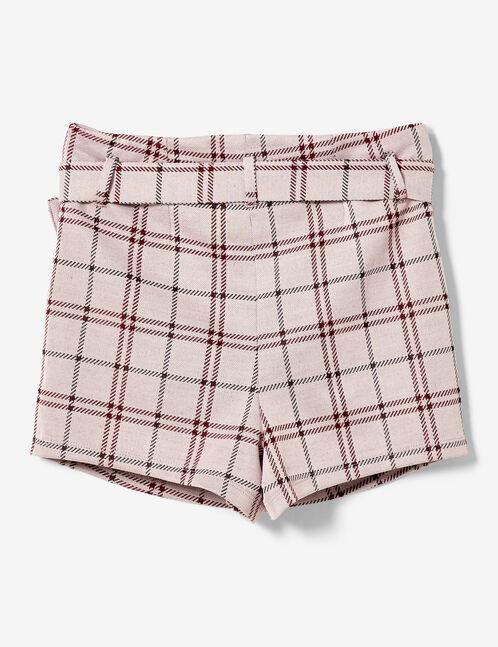 jupe short à carreaux rose foncé