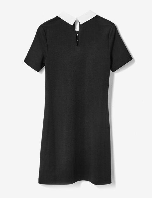 robe avec col blanc noire