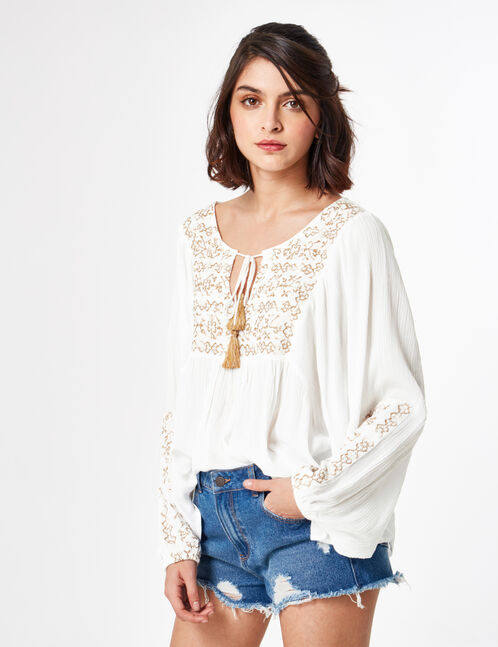 Cream and chestnut brown embroidered blouse