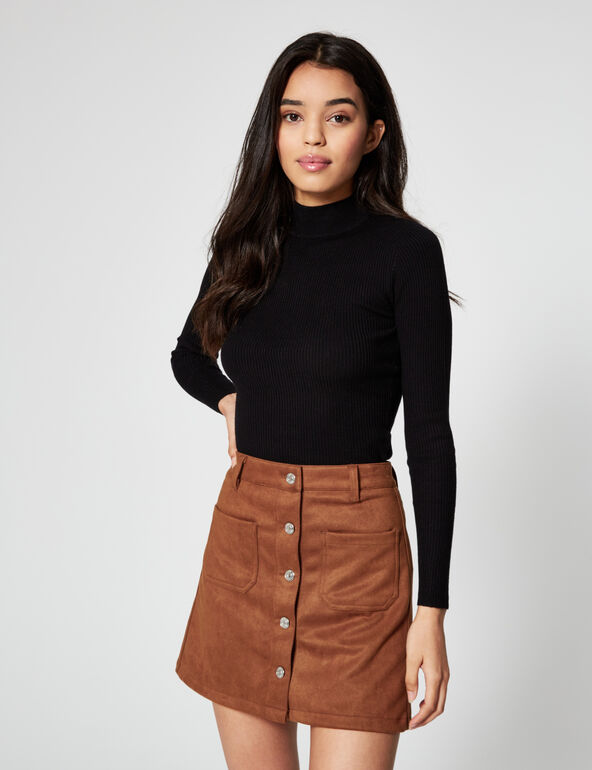 Suedette buttoned skirt