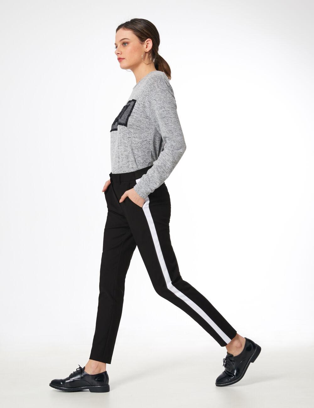 pantalon ville avec bandes noir et blanc femme jennyfer. Black Bedroom Furniture Sets. Home Design Ideas