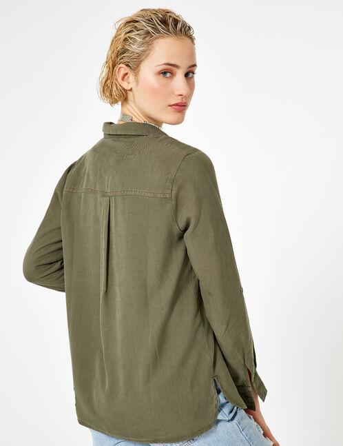Khaki shirt with lacing detail