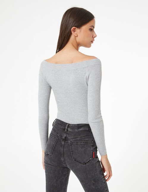 Grey marl boat neck jumper