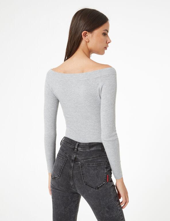 Grey marl boat neck jumper