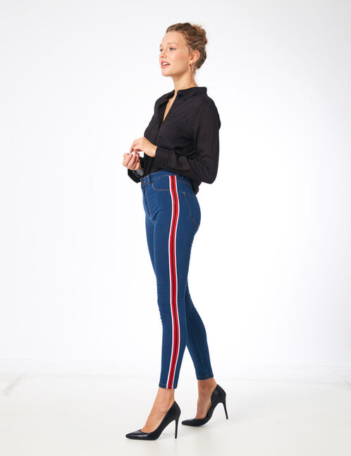 Medium blue jeggings with stripe detail
