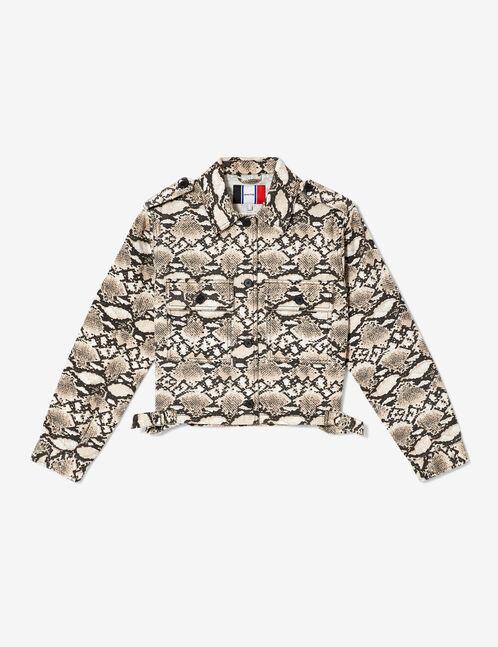 veste courte python beige